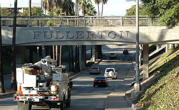 Fullerton, California entrance bridge