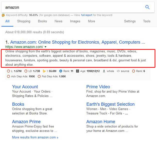 Amazon search snippet in Google